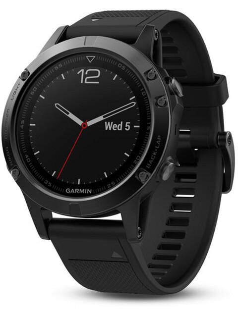 Garmin fenix 5S GPS Multisportuhr mit schwarzem Armband saphir